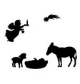 silhouette angel babe lamb donkey and christmas vector image vector image
