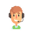 smiling male call center worker online customer vector image vector image