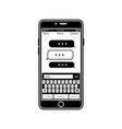 social network in mobile phone monochrome vector image vector image