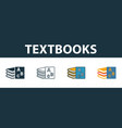 textbooks icon set four elements in diferent vector image vector image