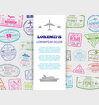 Travel banner with grunge passport stamps