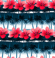 Tropical hibiscus flowers in a seamless pattern vector image vector image
