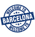welcome to barcelona blue stamp vector image vector image