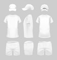 white t-shirt cap and shorts template vector image vector image