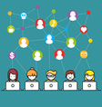 Set of people with computer icons in line style vector image