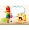 A giant icecream beside the monster in front of vector image vector image