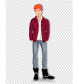 adorable full length student boy clip art vector image