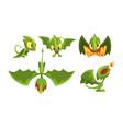 adorable green little dragons collection funny vector image