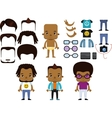 African American Male Hipster Avatar set vector image