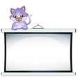 An empty whiteboard with a cat vector image vector image