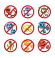 Anti bacteria and germs signs set vector image vector image
