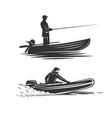 boat fisherman fresh seafood template design vector image