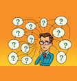 businessman solves the problem questions and vector image vector image