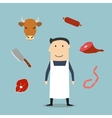 Butcher man and meat icons vector image