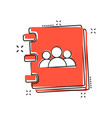 cartoon address book icon in comic style contact vector image vector image