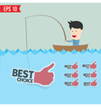 Cartoon businessman catching best tag in the sea - vector image vector image