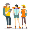 cartoon characters young people travel set vector image vector image