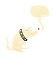 cartoon happy dog in big collar with speech bubble vector image vector image