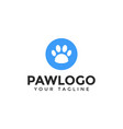 cat or dog paw print pet logo design template vector image vector image