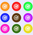 Check mark sign icon Checkbox button A set of nine vector image vector image