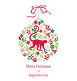 Christmas card with monkey in green-red colors vector image vector image