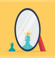concept chess reflection in a mirror vector image vector image