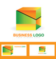 Corporate business colored cube logo vector image