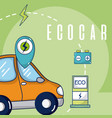 ecocar green energy vector image vector image