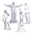 Famous statues drawings vector image