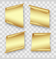 four gold sheets of paper vector image