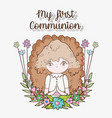 girl first communion with flowers plants vector image vector image
