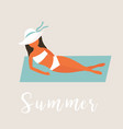 girl sunbathing on coast vintage poster vector image vector image