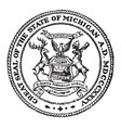 great seal state michigan vintage vector image vector image