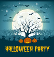 halloween party poster with dead tree vector image