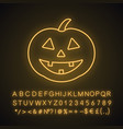 halloween pumpkin neon light icon vector image