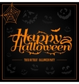 Happy Halloween orange letter in black background vector image