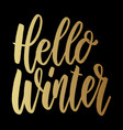 hello winter lettering phrase on dark background vector image vector image