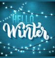 hello winter poster with realistic icicles and vector image vector image