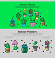 house plants and home garden flowers web vector image vector image