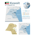 Kuwait maps with markers vector image vector image