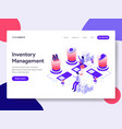 landing page template of inventory management vector image