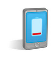 low battery on smartphone vector image vector image