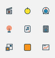media icons colored line set with presentation vector image