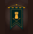 medieval pennant flag with tower and halberds vector image vector image