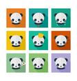 panda icons set in flat design vector image vector image