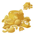 pasta detailed icon isolated on white vector image vector image