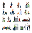 people in airport flat color icons vector image vector image