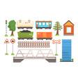 railway station elements set passenger vector image