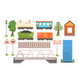 railway station elements set railway passenger vector image