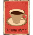 Retro metal sign Coffee time vector image vector image